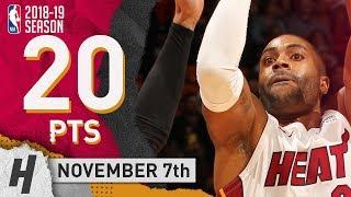 Wayne Ellington Full Highlights Heat vs Spurs 2018.11.07 - 20 Pts, 4 Rebounds!