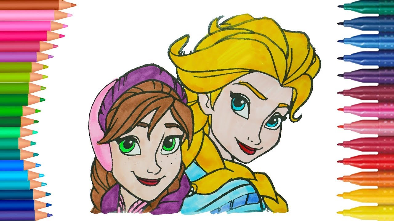 Elsa Und Anna Die Eiskonigin Deutsch Ausmalbilder Farbung Kleine Hande Malbuch Youtube