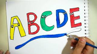 Learn Drawing A,B,C,D,E, Alphabet, Learn colors for kids, toddlers
