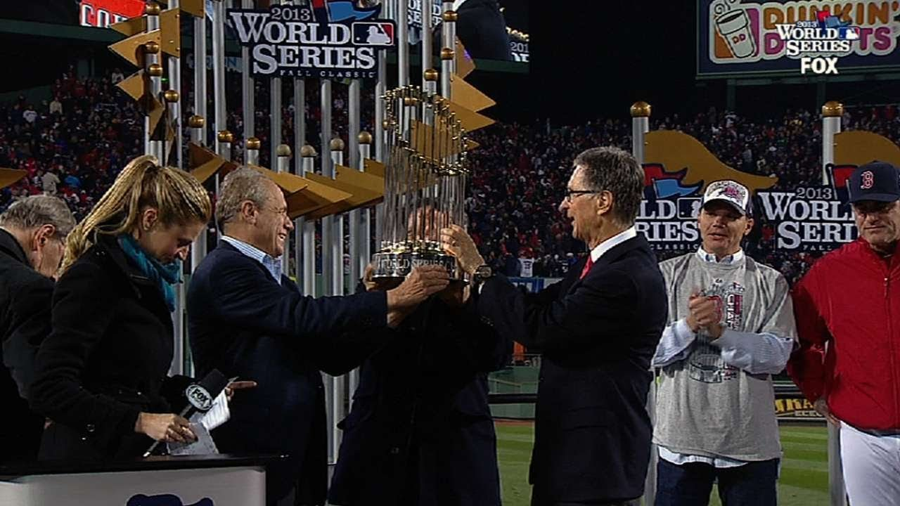 c7755cae3a7 Red Sox presented World Series trophy - YouTube