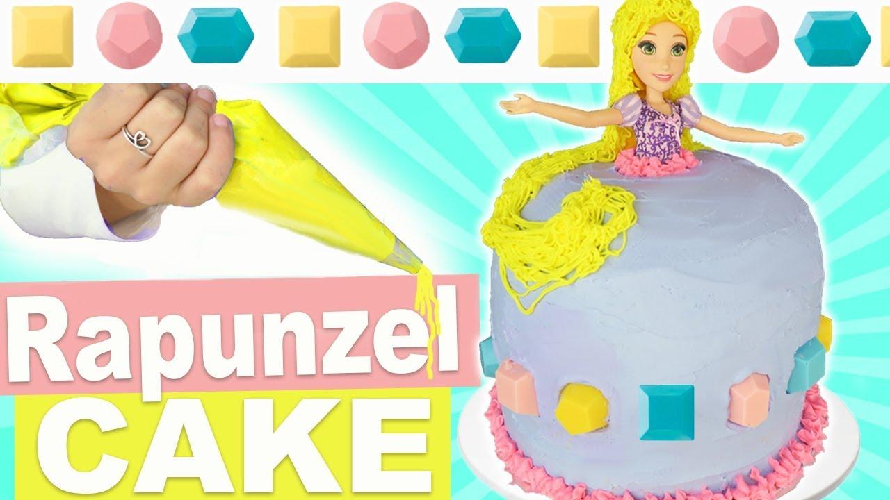 How To Make Homemade Princess Rapunzel Hair Dress Cake | Rice Krispy ...