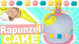 How To Make Homemade Princess Rapunzel Hair Dress Cake | Rice Krispy Treat Decorating With Frosting