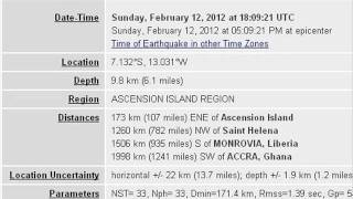 FEB 12 2012 5.0 EARTHQUAKE ASCENSION ISLAND REGION