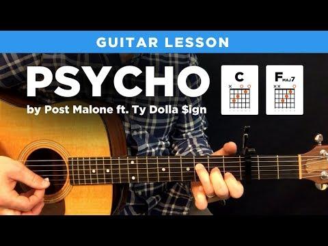 🎸 Psycho • Post Malone guitar lesson w/ chords & tabs (capo & no capo)