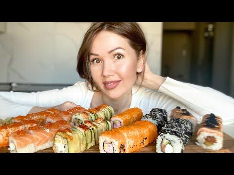 Mukbang| Якитория доставка| Сакура сет не вкусные роллы | Rolls And Sushi | 롤과 초밥 | Мукбанг |