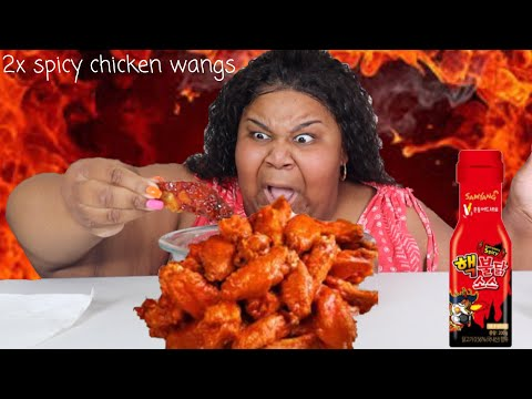 2X NUCLEAR SPICY CHICKEN WING CHALLENGE|  prissy p |  steph and tasha