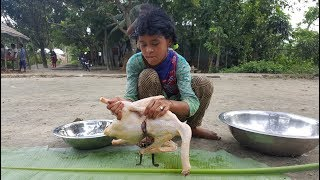 Goose (Raj Hash) Curry Cooking By Children Of Village For Their Picnic Food - Tasty Duck Curry