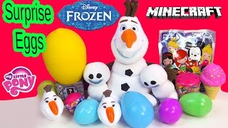 Disney Frozen Snowgies Surprise Eggs Blind Bag Toys My Little Pony Fash'ems Squishy Pops Minecraft