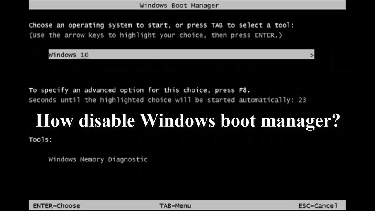windows 10 boot manager key