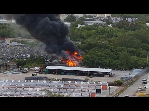 Harmon Industrial Park fire caused by construction materials & vegetation