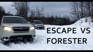 FORD ESCAPE VS SUBARU FORESTER, ICY/SNOWY HILL CLIMB