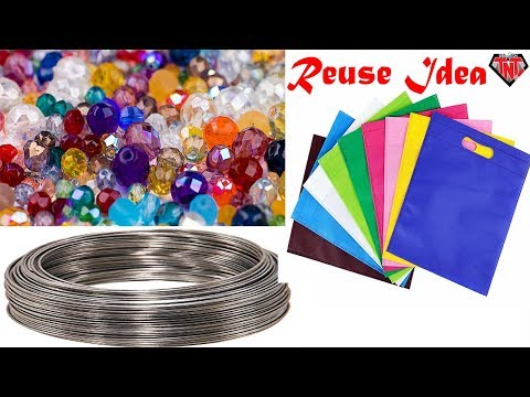 Waste Materials Recycle Wall Hanging | Shopping Bag Crafts | Cardboard Box Reuse | Beads Wallmate