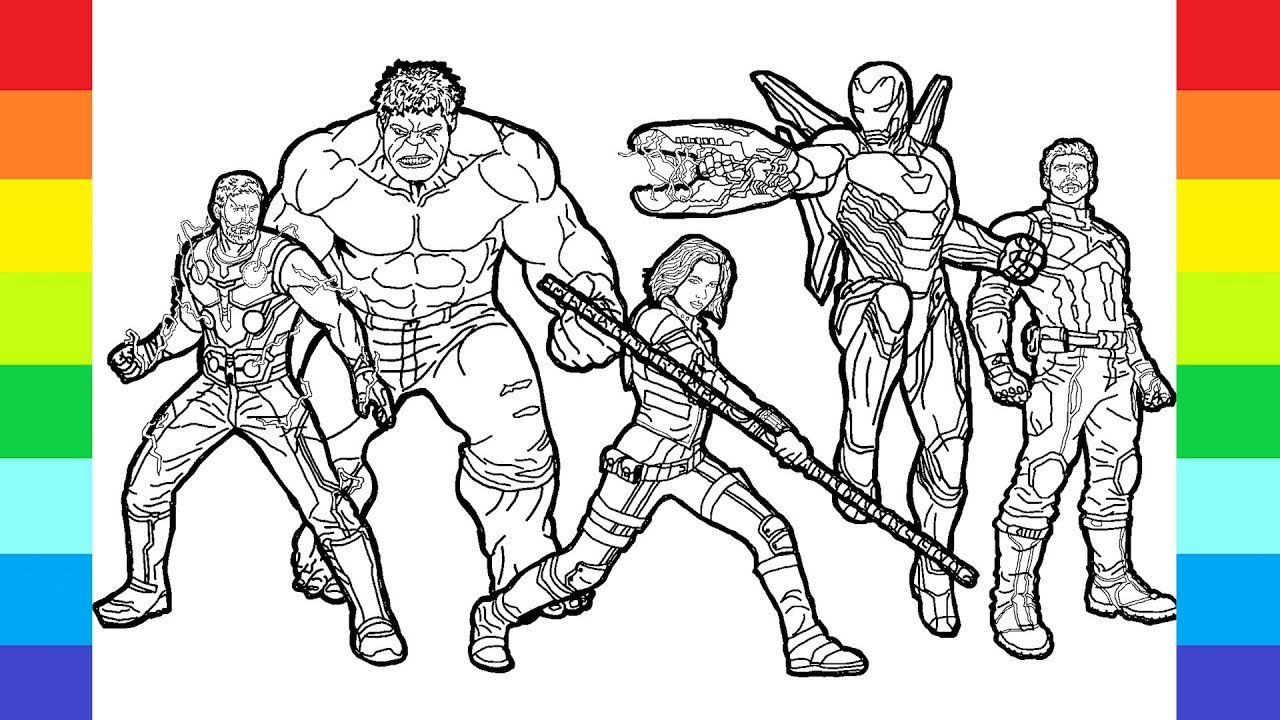 How to MARVEL drawing ♡ AVENGERS coloring page Super Hero ...