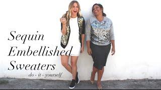 {DIY} Sequin Embellished Sweaters | Miss Kris