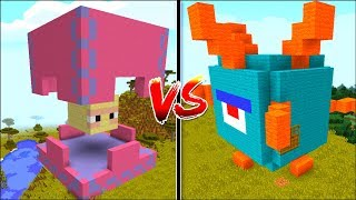 Minecraft GUARDIAN HOUSE VS SHULKER HOUSE MOD / BUILD FURNITURE INSIDE THE HOUSE !! Minecraft