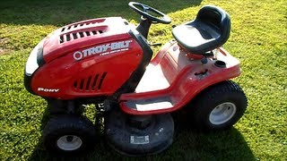 "Troy Bilt Pony Riding Lawn Mower 42"" 17.5HP B & S Engine - Gas in the Oil - June 15, 2013"