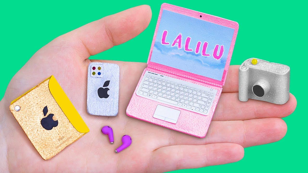 10 Trucos y Manualidades para Barbie / ¡Iphone 12, Macbook y más Cosas en Miniatura!
