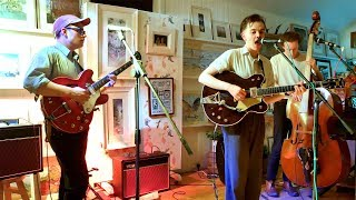 Glasgow band Awkward Family Portraits performing 'Please Baby Please' at Braemar Gallery April 2019
