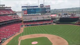 watching the Brewers play the Cincinnati Reds at Great American Ballpark