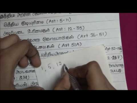 Tnpsc Indian Constitution in Tamil - 6  ( Shortcuts to Parts& Articles )