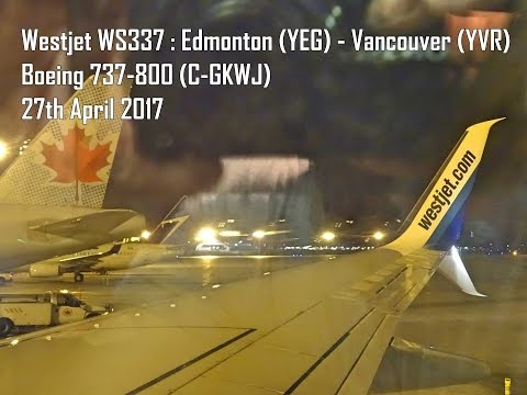 Westjet WS337 - Edmonton to Vancouver - Boeing 737-800 (C-GKWJ)
