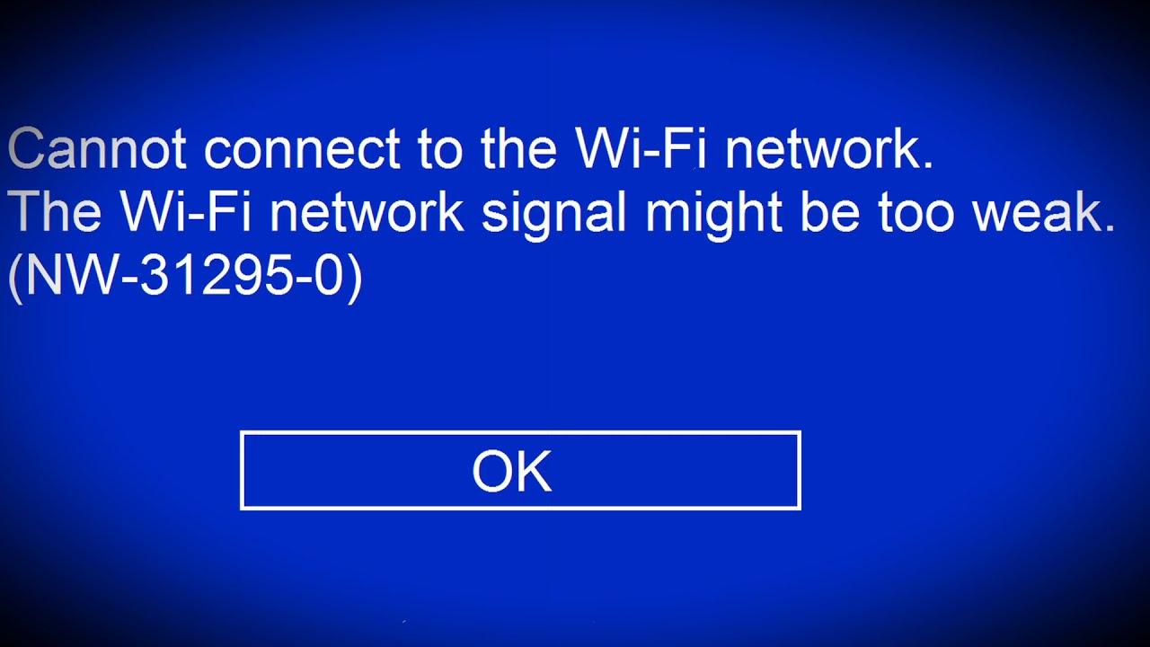 PS4 Weak Wifi Signal Error NW-31295-0