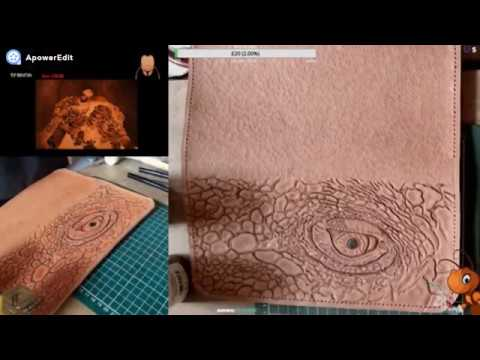 Leather Tooling and Painting Lizard eye Fast Forward pyrography