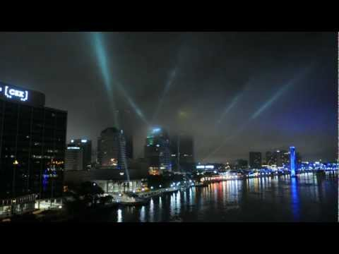 Searchlights At Jacksonville Landing Event In Jacksonville Florida