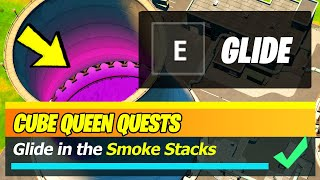 Glide in the Smoke Stacks at Steamy Stacks (Fortnite Cube Queen Challenges)