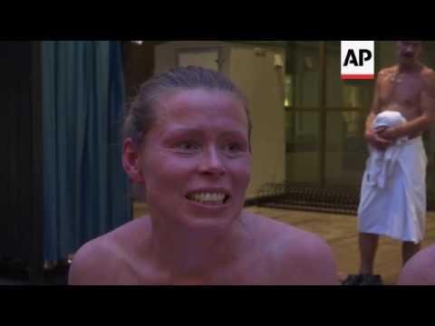 Finns flock to a free outdoor public sauna