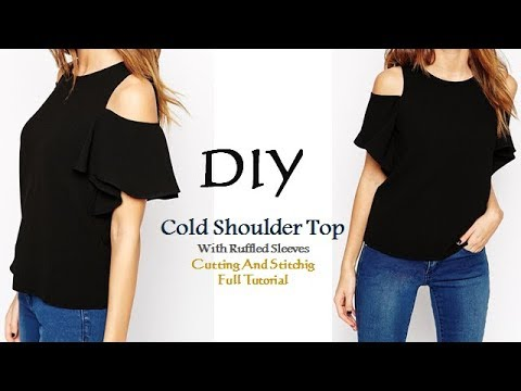 DIY Cold Shoulder Top With Ruffle Sleeves Cutting and ...