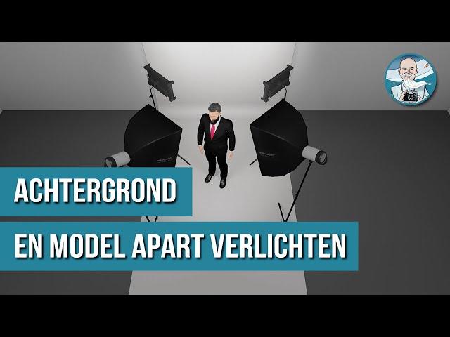 APART VERLICHTEN van Model en Achtergrond bij Studiofotografie.