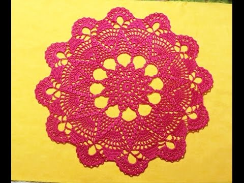"Салфетка крючком ""Звезда""_Часть 1_Doily Crochet Star #салфеткакрючком #салфеткавидео #вяжемкрючком"