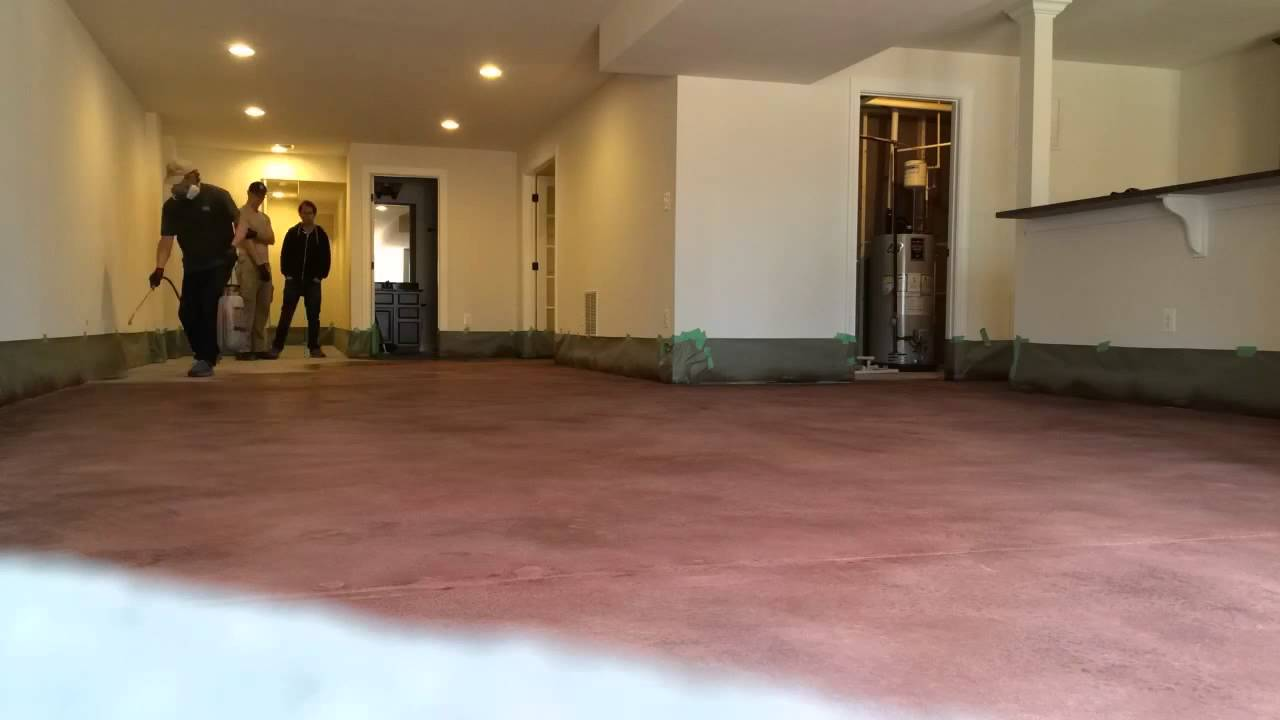 Staining A Concrete Basement Floor & Staining A Concrete Basement Floor - YouTube