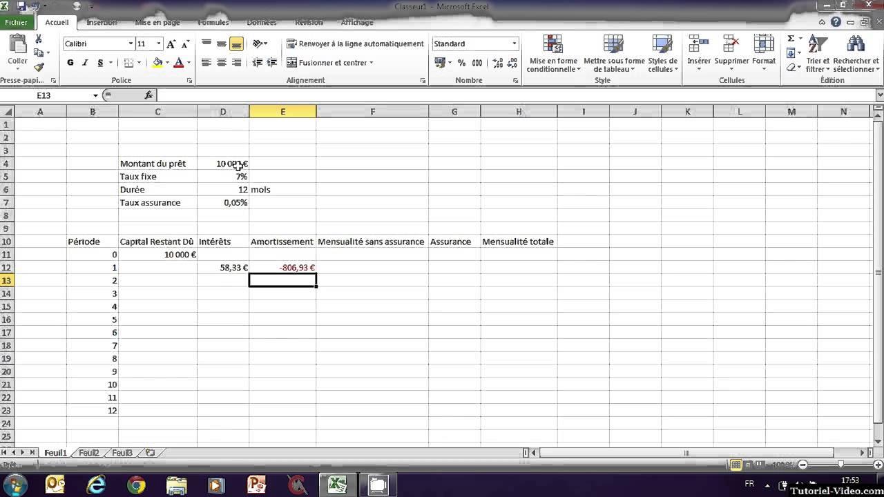 Remboursement emprunt excel - Excel tableau d amortissement ...