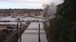 Yacht on fire at East Cowes Marina