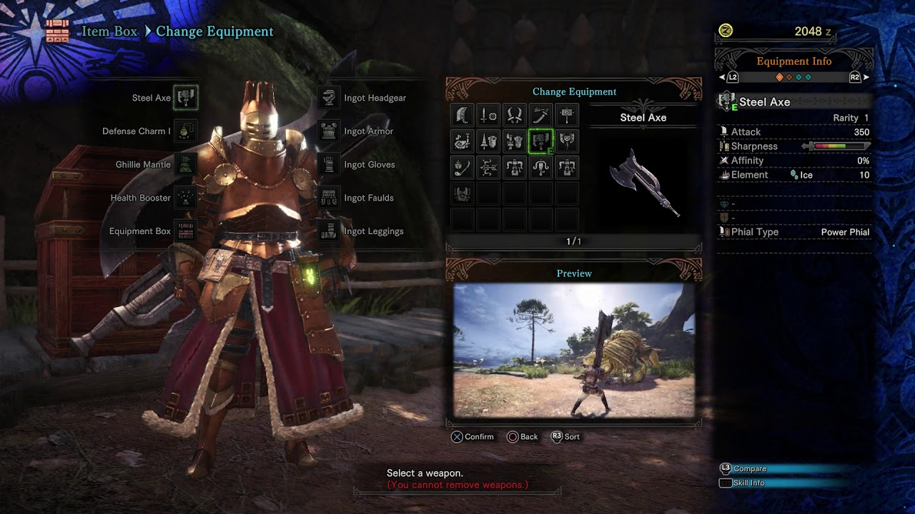 Monster Hunter: World - Item Box: Switch Weapons, Manage Items, Item Pouch,  Crafting, Change Armor