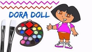 How To Draw Dora Doll And Coloring With Brush | Dora Doll Painting With Brush