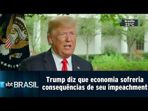 Trump diz que mercado financeiro sofreria consequências de seu impeachment   SBT Brasil (23/08/18)