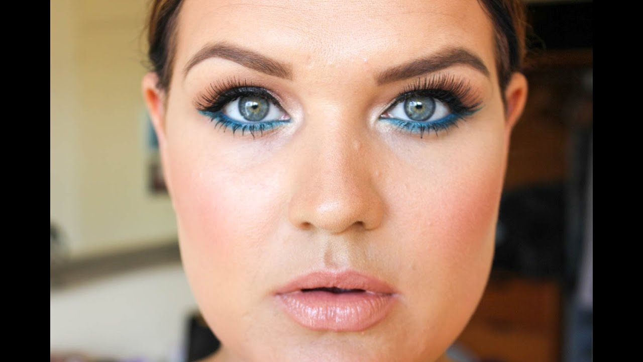 fun spring makeup tutorial featuring turquoise eyeliner youtube. Black Bedroom Furniture Sets. Home Design Ideas