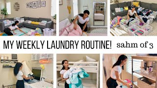 STAY AT HOME MOM OF 3 WEEKLY LAUNDRY ROUTINE // CLEANING ROUTINE MOTIVATION // Jessica Tull cleaning