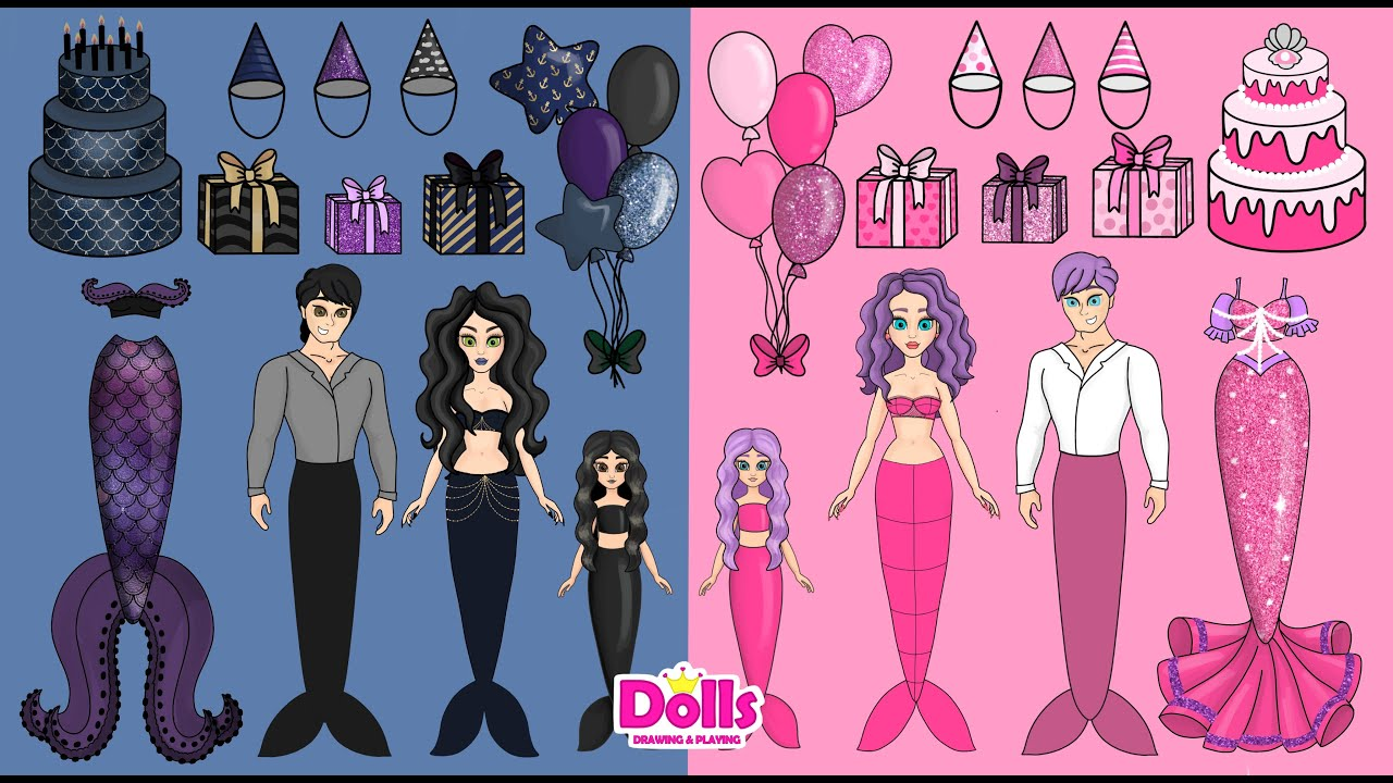 PAPER DOLLS MERMAIDS FAMILY BIRTHDAY DRESS UP DIY PAPER CRAFT