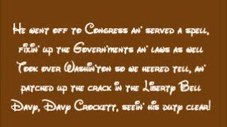 The Ballad Of Davy Crockett Lyrics