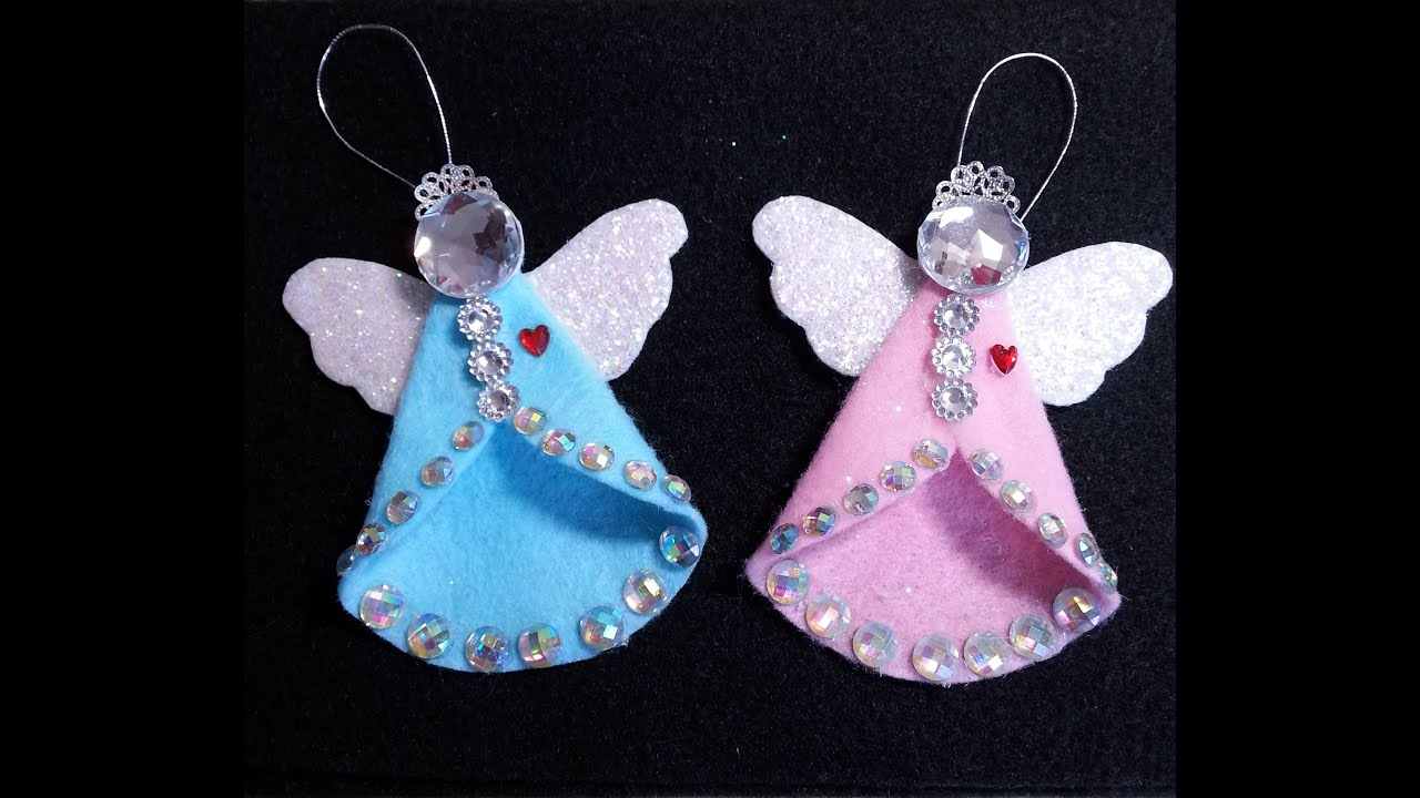 Diy sparkling vintage retro felt angel ornament youtube for Angel tree decoration template