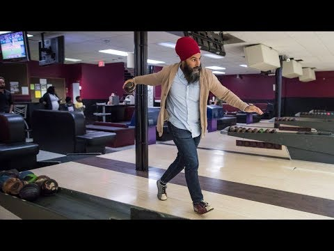 Canada's NDP Leader Jagmeet Singh takes his caucus bowling