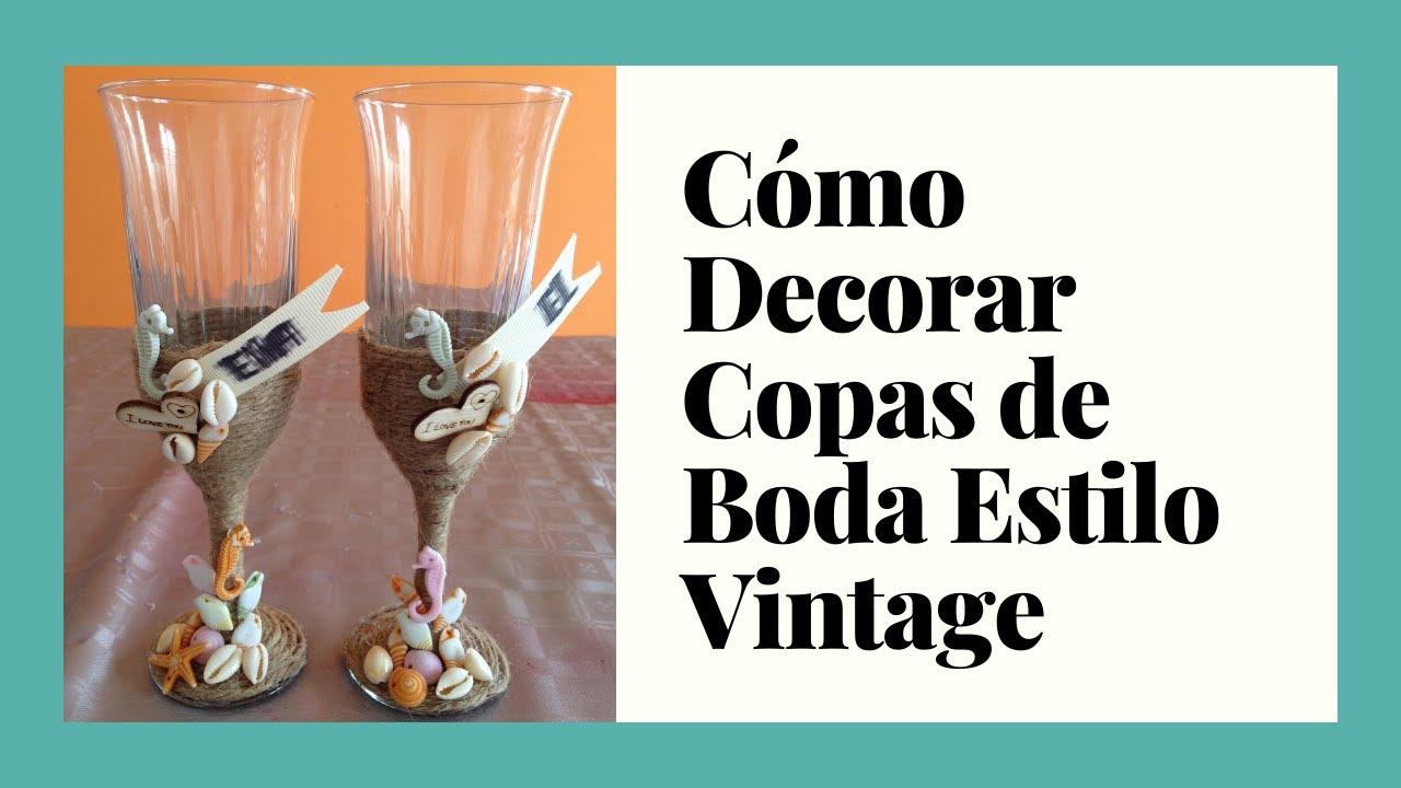 Decoracion vintage copas para bodas vintage glasses for Decoracion de pared para matrimonio