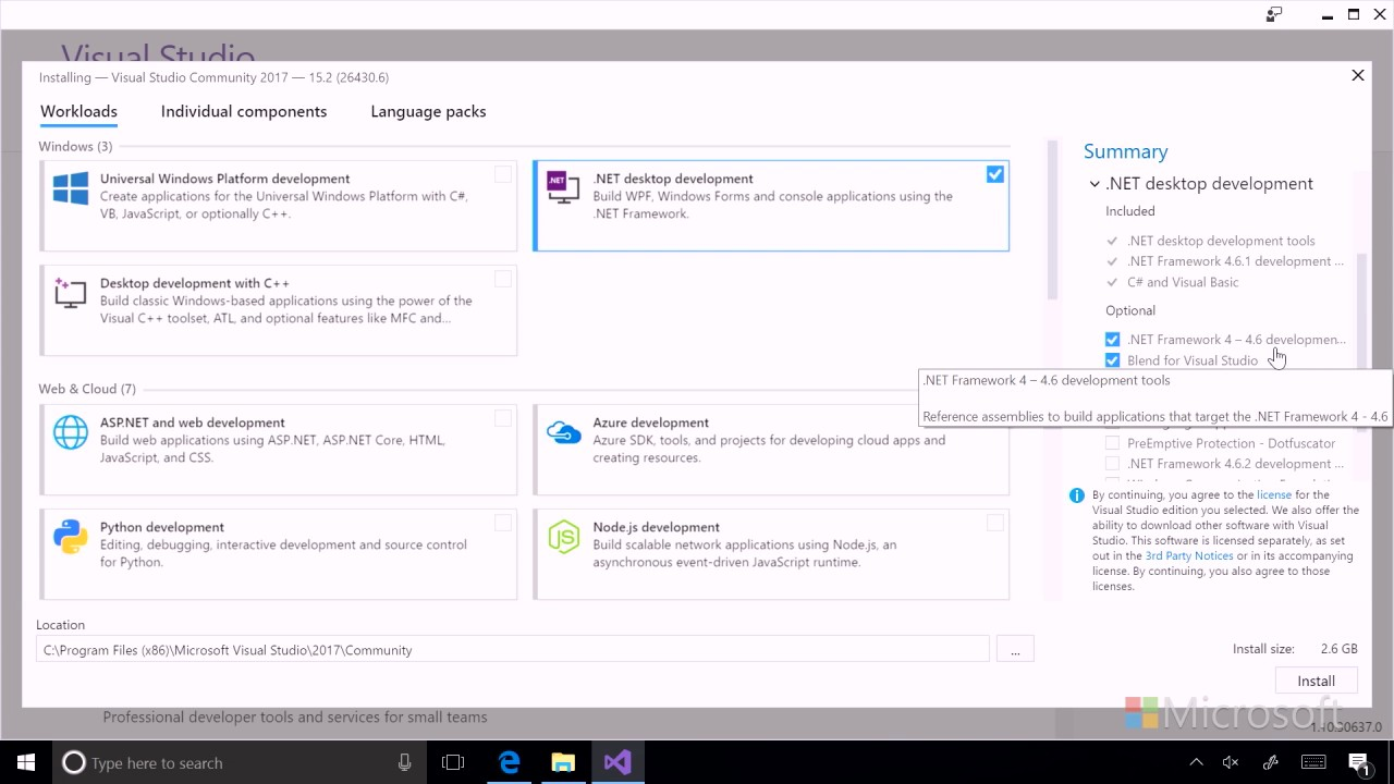 04 Install Workloads in Visual Studio 2017