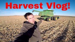 Full Day Harvest Vlog! Stuck Truck, Corn, Soybeans, Test Plot