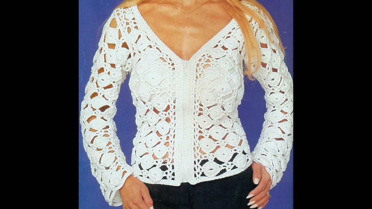 Patrón para tejer chaqueta blanca con cierre a crochet - YouTube