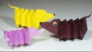 Оригами: #собака 🐕 Такса из бумаги